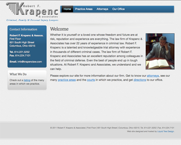 Screenshot of the website for Robert F. Krapenc, Attorney at Law