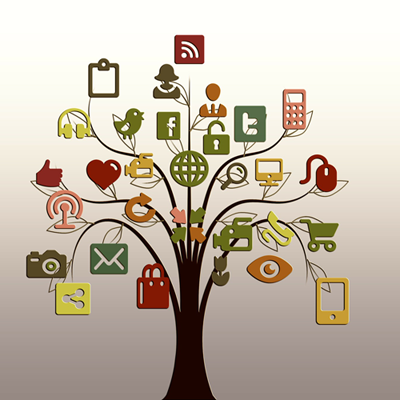 graphic of tree and various web-based service icons